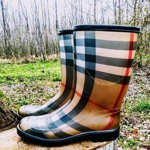 Burberry Tan House Nova Check plaid boots.